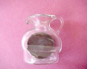 Tiny Vintage Glass Pitcher Blown Around a 1919 Penny