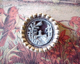 Charming Victorian Era Metal Story Button with Bridge to Castle