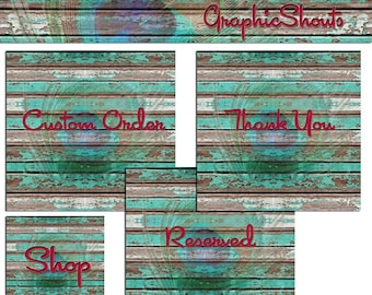 Etsy Banner Set - Banners and Avatars - Vintage Wood, Grunge Teal Wood and Peacock Design cover banner