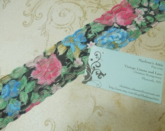 1 yard of 2 inch Multi Color Floral Print Stretch elastic lace for headband lace, garter lace, lingerie lace by MarlenesAttic - Item CC6