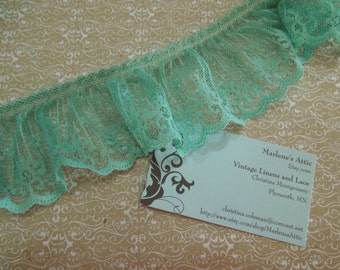 1 yard of 2 1/2 inch Celadon Green Ruffled Chantilly lace trim for spring, bridal, baby, sewing, crafts by MarlenesAttic - Item EE0
