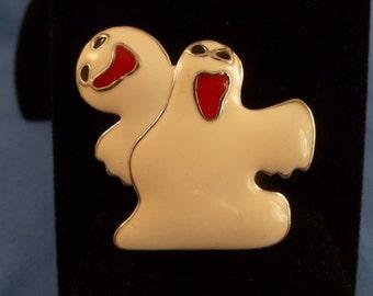 Halloween two White Dancing Ghost Brooch