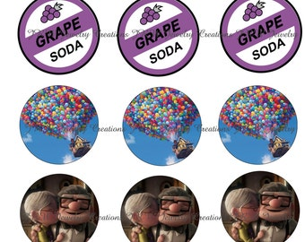 Disney's Up inspired 1 Inch Bottle Cap Images - Grape soda, Disney Movie ' Up '