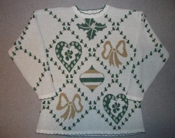 Vintaeg 80s 90s Sparkle Sparkly Bows Hearts Ornaments Long Sleeve Sweater Tacky Gaudy Ugly Christmas Party X-Mas Made In USA L Large
