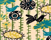 """TWO Curtain Panels, 25"""" x 84"""" - Black and Blue Birds on Green Vines with Flowers, cream background"""