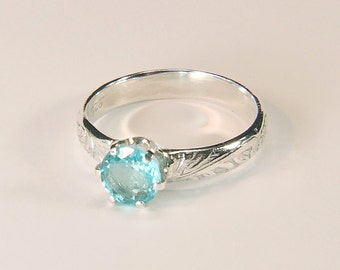 Apatite (Electric Blue), 5.75mm x 0.81 Carat, Round Cut, Sterling Silver Ring