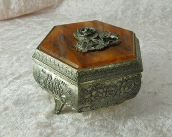 Vintage Jewelry Casket or Trinket box with Tortoise Shell Plastic and Roses on Lid