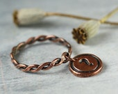 Twisted Copper Ring with Letter Charm Dangle - Stacking Rope Ring