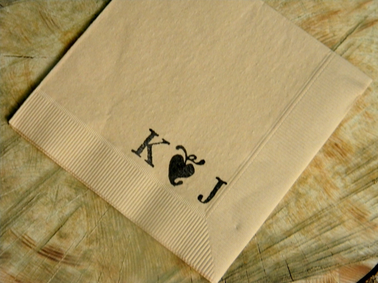 Personalized Rustic Wedding Cocktail Napkins Hedera Symbol And