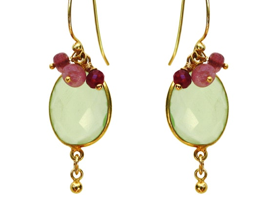 Ruby and Tea Green Earrings. Gold Vermeil and Chalcedony Bezel Set Earrings with Little Raspberry Rubies.