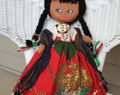 Primitive vintage mexican girl rag doll, vintage cloth textiles and beading, folk, ethnic, circa 1950's