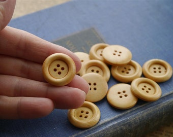 "12 pcs Light Wood Buttons 23mm 7/8"" (WB972)"