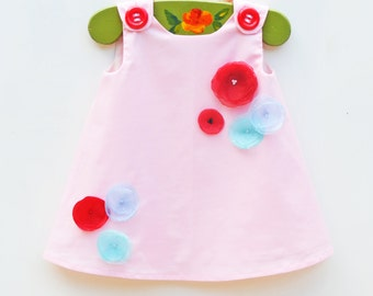 Baby Pink Garden Dress -  Wedding - Toddler Dress - Handmade Organza Flower Appliques - Family Photo Prop - Newborn Gift  - 3M to 4T