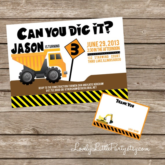 DIY Printable Construction Theme Birthday Invitation Kit - Invite AND Thank You Card included