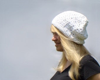 White Slouch Hat, Crochet Beanie, Womens Cotton Tam, Winter Fashion White Lace Hat, Slouchy Hat