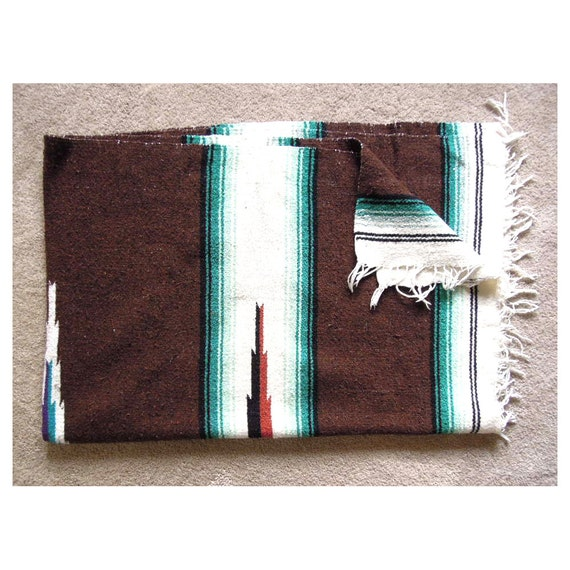 Vintage Mexican Blanket Southwest Throw Rug By
