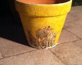 AFRICAN CHEETA POT / Decoupage Clay Pot / Safari Ceramic Decoupage Art / Ceramic and Pottery / Terra Cotta Planters / Flower Pot / Garden