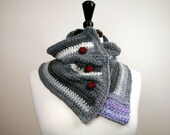 Capelet, or, Button-Down Cowl / Neckwarmer, Handmade Crochet from Gray, White, and Violet Merino Wool, OOAK, Unisex