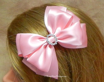 "Any Color! Pink Satin Hair Bow with Rhinestone Charm - 5"" - Choose Color and Charm for a Custom RoseyBow® Satin Special Occasion Hair Bow"