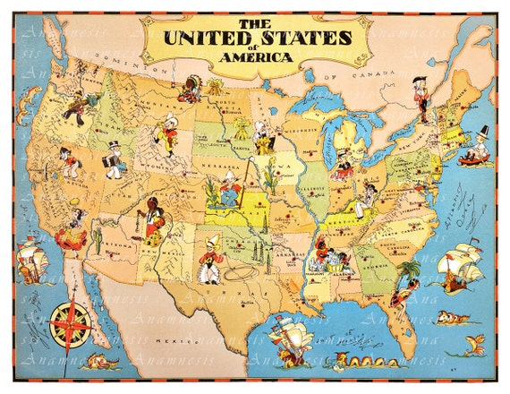 UNITED STATES Map Print Digital Download Vintage US - High resolution us map download