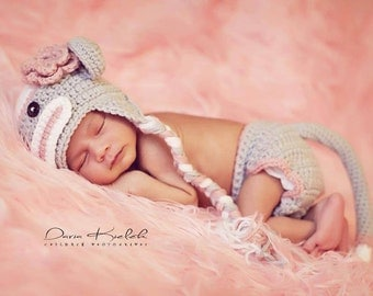 Newborn Crochet Gray and Pink Sock Monkey Hat and Diaper Cover Photo prop Baby Girl Baby Boy