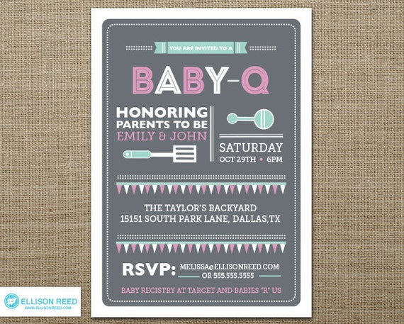 BBQ Baby Shower Invitation Baby Q Shower BBQ inviation