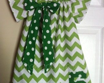 Green Chevron Peasant Dress with Green Bow