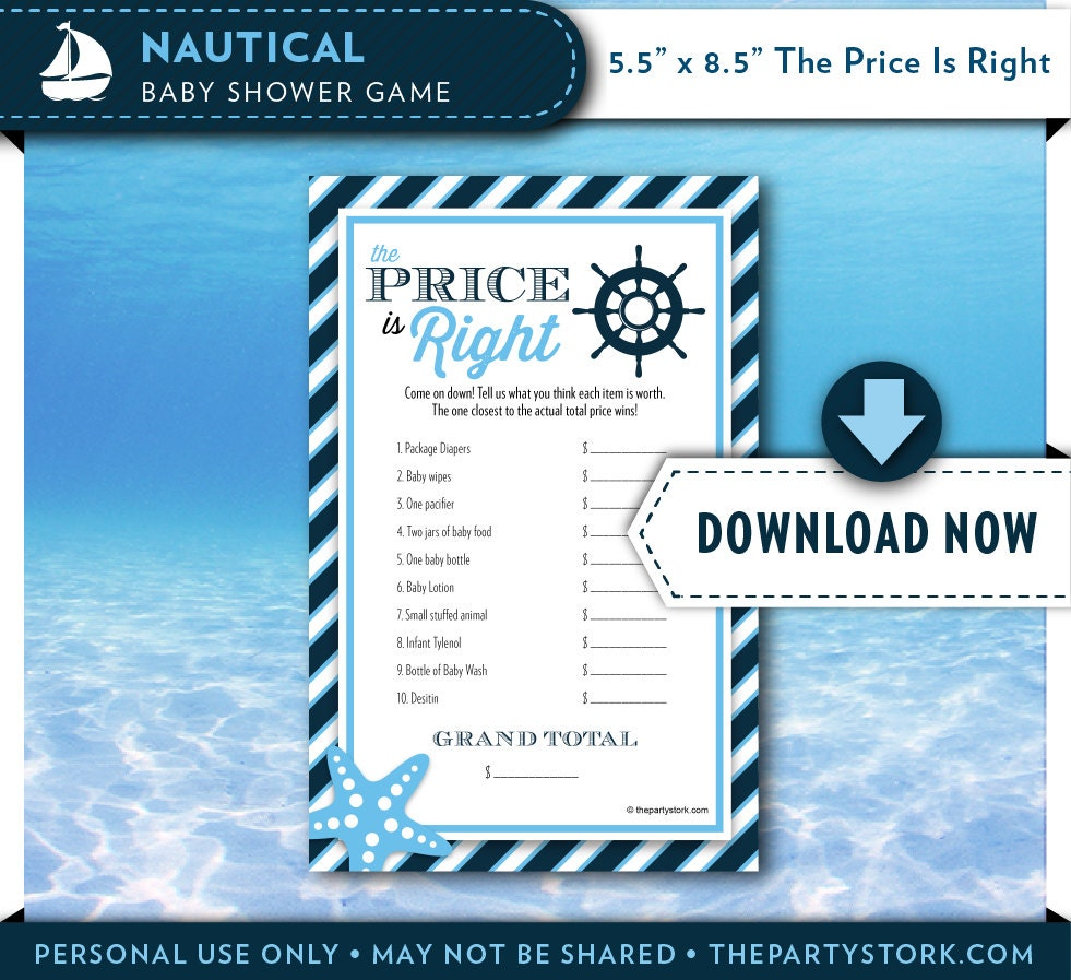 boy baby shower games nautical themed price is right