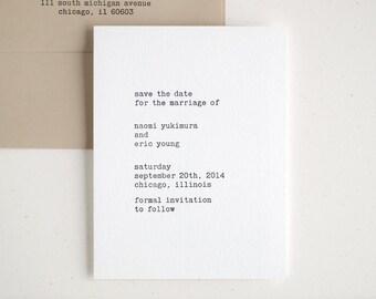 Typewriter Save the Dates - Letterpress Printed - Modern and Minimal - Editor