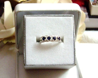 Sterling & Blue Sapphire Ring Sterling Silver Contemporary Detail Split Shaft Thick Band Genuine Gemstone