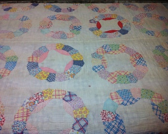 Vintage Hand Quilted Ferris Wheel Feed Sack / Flour Sack Quilt
