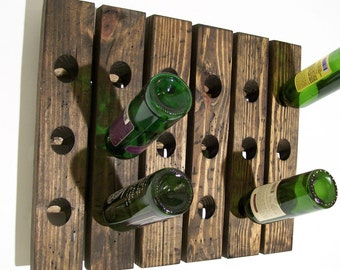 Wall Wine Rack Distressed Riddling Rack Wood Antique Style