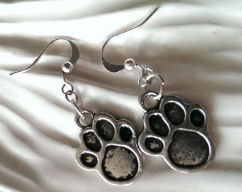 1 Pair Tibetan Style Earrings Puppy Kitty Cat Dog Paw Animal Antique Silver Finish -  Jewelry Stocking Stuffer