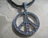 Treasury List Large Sterling Silver CZ Peace Sign Pendant OOAK