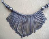 Silver Indian Tribal Ethnic Boho Bib Fringe Necklace