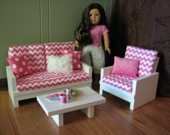 American Girl Sized Living Room 18 Doll Furniture Loveseat Chair Coffee Table Hot