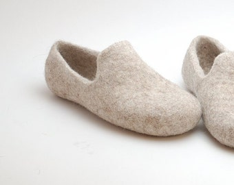 Felted wool slipper loafers beige - eco slippers - handmade felt organic wool house shoes