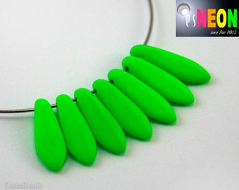 Neon Green Dagger Beads 16mm UV active (20) Czech Glass Frosted Matte Bright Colorful Pressed Hot Spike Teardrop Fang