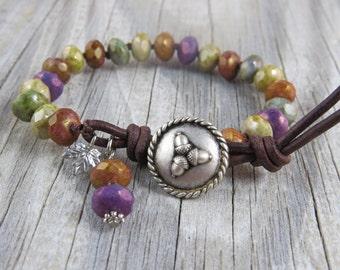 Rustic Fall bracelet, acorn bracelet, beaded leather bracelet, leather beaded bracelet, wrap bracelet, charm bracelet, cottage chic