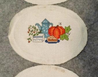 3 Vintage Oval Hand Cross Stitch Spice Nutmeg Cinnamon Cloves Apple Pie Pumpkin Pie