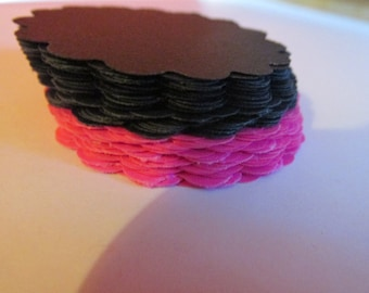 Hot pink and black scalloped circles, cardstock paper embellishments  (50 count)