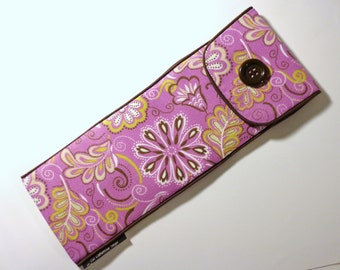 Flat Iron or Curling Iron Case--Travel Case-Teflon-Pink Brown Floral--Heat Resistant Case