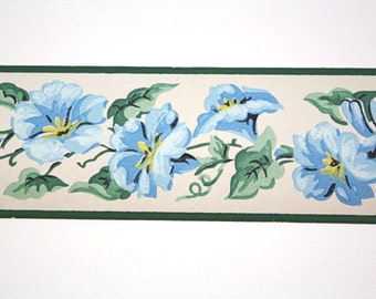 Full Vintage Wallpaper Border - TRIMZ -  Blue Morning Glories on Cream - Floral Border