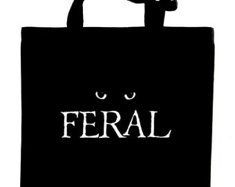 FERAL cat lovers tote bag