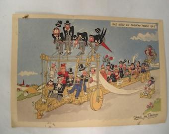 Vintage French anti Nazi Humorous postcard signed Jean de Preissac 1945 // Free Shipping