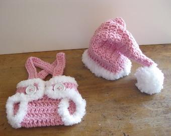 Baby Santa Hat Crochet Baby Hat Santa with Diaper Cover Christmas  Pink Baby girl