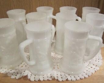 Federal Beer Stein Mugs Vintage White Milk Glass1950s Tavern Scene Pub Lot Of 10