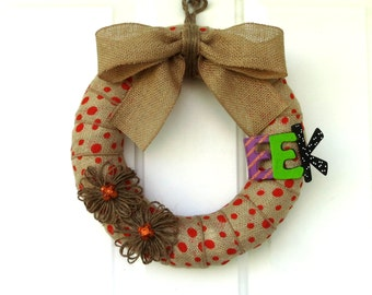 Halloween Burlap Wreath - Modern Halloween Wreath - Orange Polka Dot Burlap Wreath with Jute Flowers and Eek
