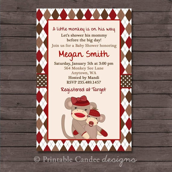 items similar to sock monkey baby shower invitation  diy custom, Baby shower