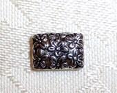 Rectangular 12mm x 8mm Floral Silver Metal Spacer Beads - Pack of Twelve